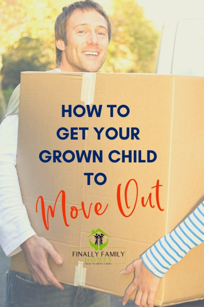 image of guy carrying moving box - how to get your grown child to move out