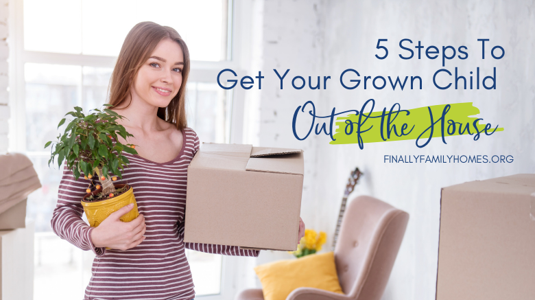 young woman holding a box and plant following steps to move out