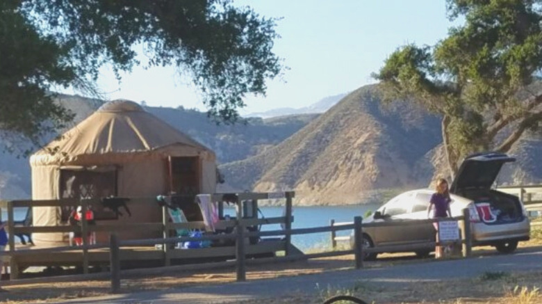 image of California spring break near Los Angeles for families - camp in a yurt!