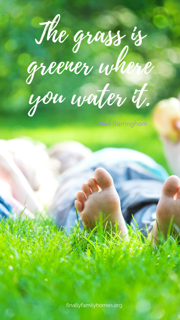 image of inspirational quote downloadable - the grass is greener where you water it