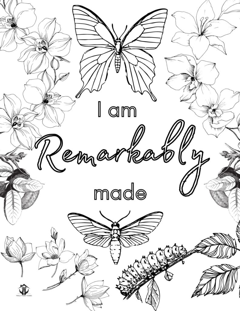 image of affirmation coloring page