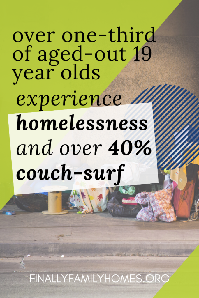 image of Aging Out of Foster Care Statistic Homeless