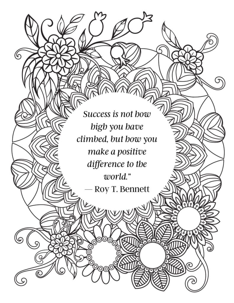 image of quote coloring page -success