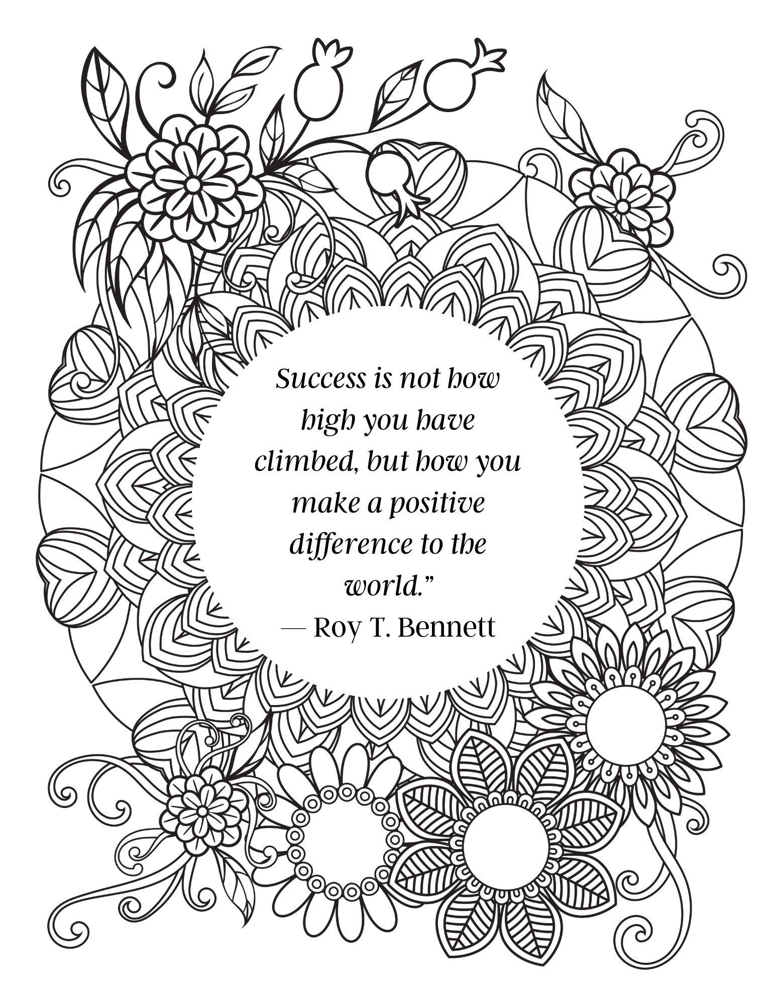 Free Inspirational Quote Coloring Pages for Adults