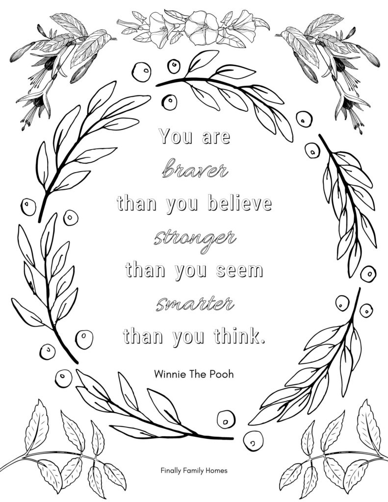 image of positive affirmation coloring page- braver than you believe..Winnie the Pooh