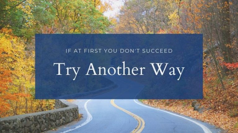 success in life - if at first you don't succeed, try another way