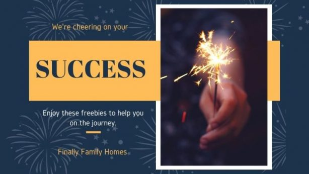 image of hand holding a sparkler and text we are cheering for your success