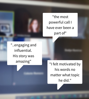 image of a zoom call with quotes about how the youth liked Jeffrey Phillip Forrest Speaking