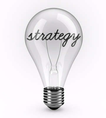 image of a lightbulb with the wires forming the word strategy