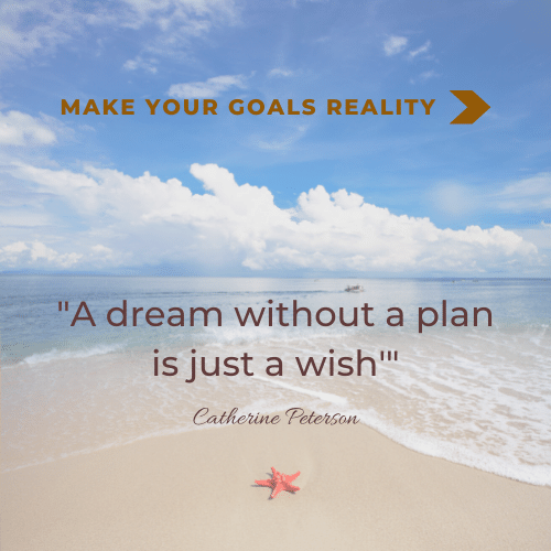 """image of the beach with text """"A Dream without a plan is just a wish"""" quote by Catherine Peterson"""