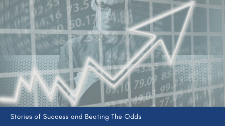 """arrow moving up on a graph with text """"Stories of Success and Beating the Odds"""""""