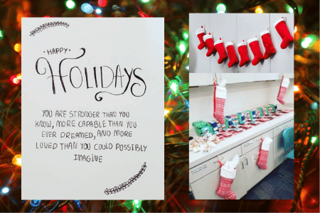 image of hand made christmas card and wrapped gifts and stockings for former foster youth in college