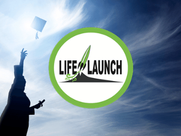 life launch logo and student throwing a graduation cap up into a blue sky
