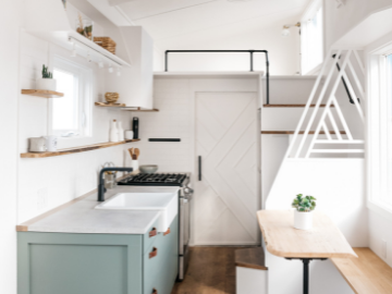 beautiful kitchen in a tiny house on wheels