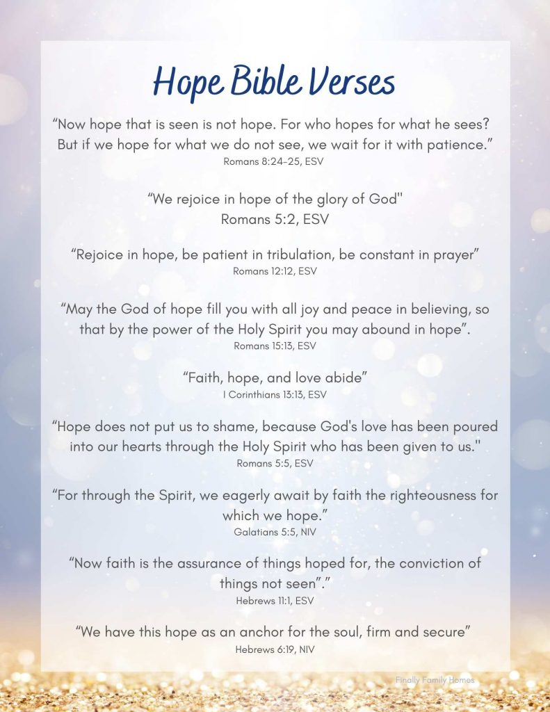 Bible Verses About Hope Printable