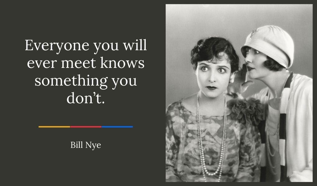 black and white photo of woman from the twenties whispering into the ear of another woman a bill nye quote about networking.